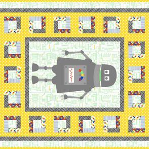 Beep Boop Bop Robot Cheater Quilt