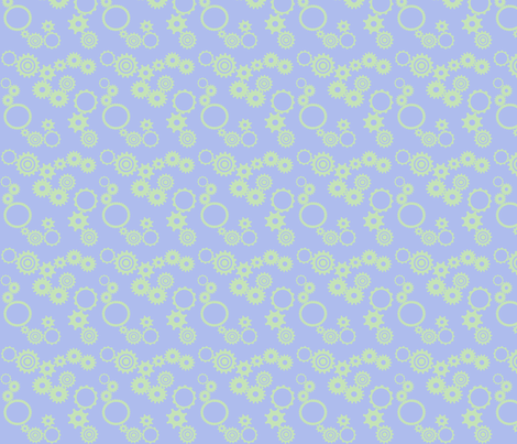 gears light blue with sage green fabric by demouse on Spoonflower - custom fabric