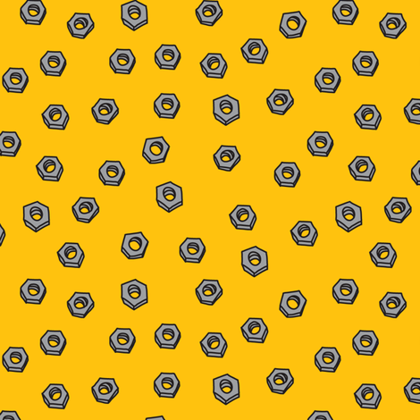 Robot Nuts (in yellow) fabric by ghennah on Spoonflower - custom fabric