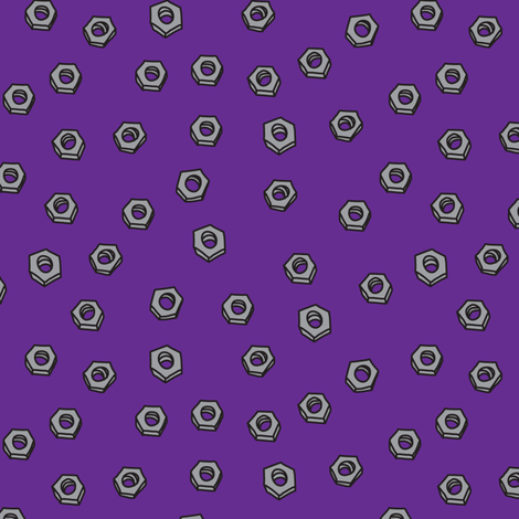 RobotNutsPurple fabric by ghennah on Spoonflower - custom fabric