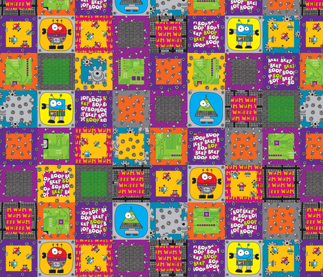 RobotGrid fabric by ghennah on Spoonflower - custom fabric
