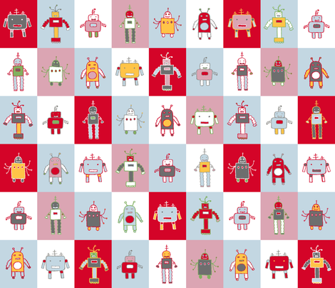 Sleeping with robots fabric by fantazya on Spoonflower - custom fabric