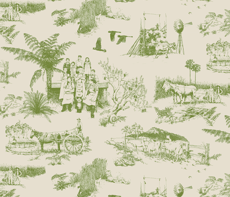 Tilba_toile_olive/bone_ fabric by pavlovais on Spoonflower - custom fabric