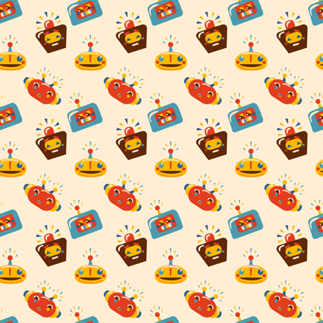 Robot heads fabric by irrimiri on Spoonflower - custom fabric