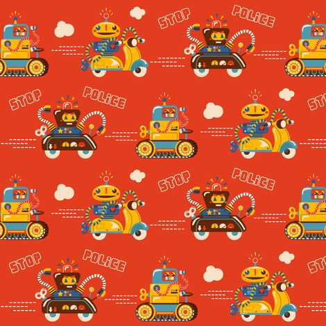 Robot Chase | On the Run Pattern fabric by irrimiri on Spoonflower - custom fabric