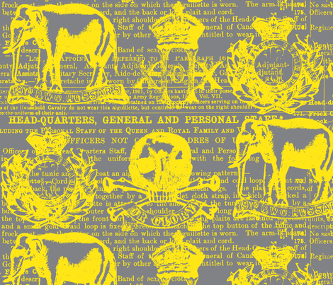 Regiment Yellow on Grey fabric by sydama on Spoonflower - custom fabric