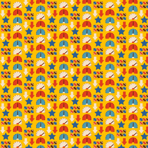 Robot Chase | Arrows & Buttons pattern fabric by irrimiri on Spoonflower - custom fabric