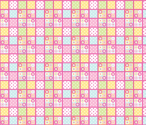 Patchwork beads in pastels with bright pink edging fabric by elizabethjones on Spoonflower - custom fabric