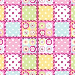 Patchwork beads in pastels with bright pink edging