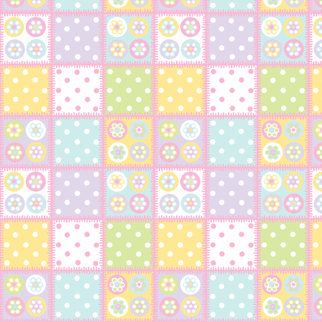 Patchwork with pale pink stitch edging fabric by squeakyangel on Spoonflower - custom fabric