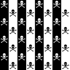 skull and crossbones on one inch stripe - black and white