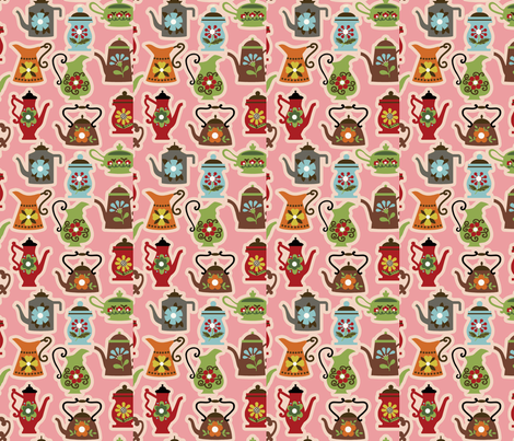 Kettle Rattle / Pink fabric by hoodiecrescent&stars on Spoonflower - custom fabric