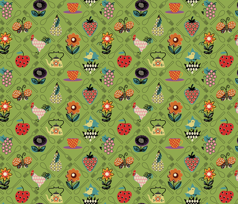 Sweet Garden / Lime fabric by hoodiecrescent&stars on Spoonflower - custom fabric