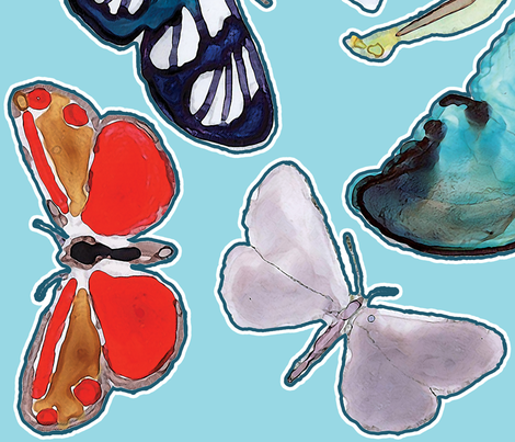 Splashy Butterfly Wall Decals fabric by anntuck on Spoonflower - custom fabric