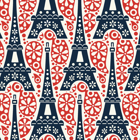 eiffel_tower_on_paisley/Tri-color fabric by hoodiecrescent&stars on Spoonflower - custom fabric