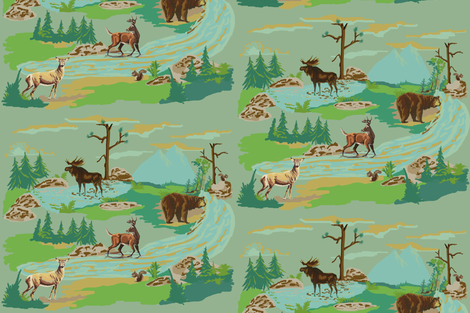Paint by number woodland animals fabric by hollycejeffriess on Spoonflower - custom fabric