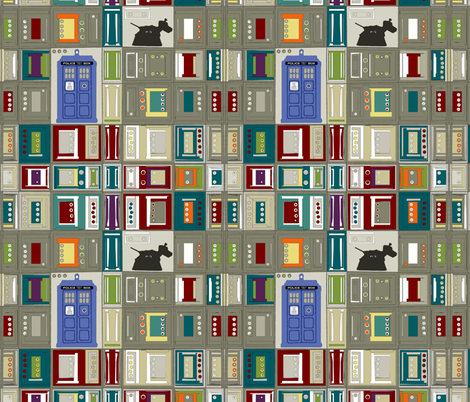 tardis disco dog grid fabric by scrummy on Spoonflower - custom fabric