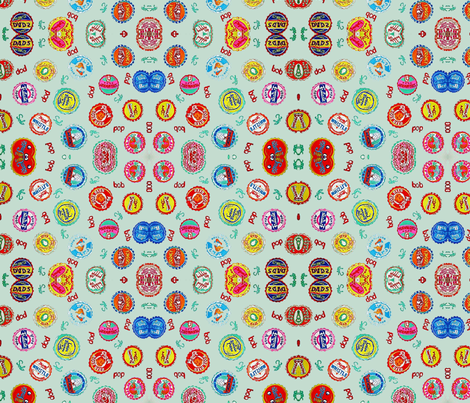 Bottlecaps -  sage fabric by bettinablue_designs on Spoonflower - custom fabric