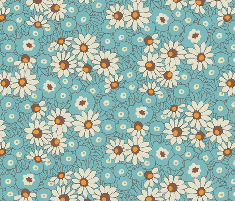 Spring Fever / Aqua fabric by hoodiecrescent&stars on Spoonflower - custom fabric