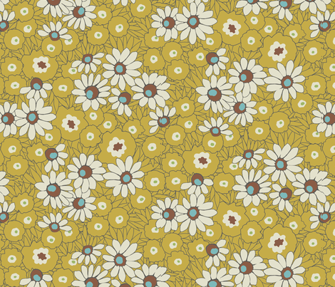 Spring_Fever-mustard fabric by hoodiecrescent&stars on Spoonflower - custom fabric