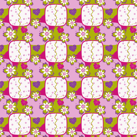 Pink & Green Girly Squares fabric by eppiepeppercorn on Spoonflower - custom fabric
