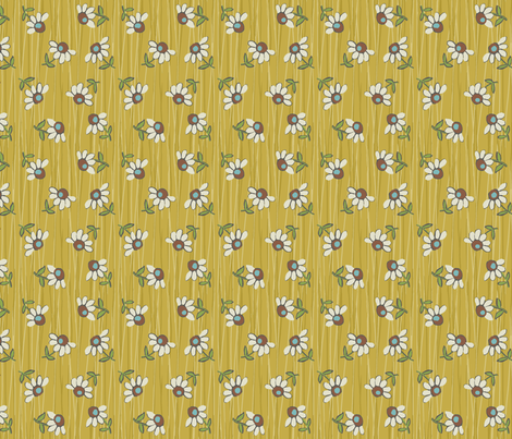 Daisy_Shower-mustard fabric by hoodiecrescent&stars on Spoonflower - custom fabric