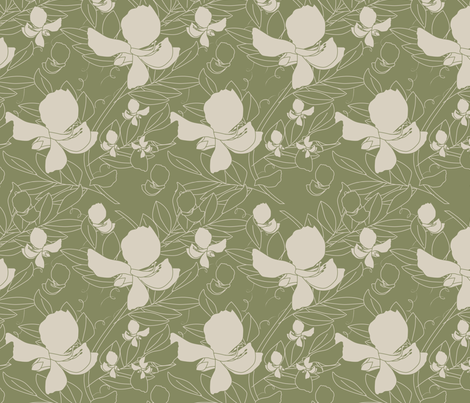 Broadbean Vine Mosstone fabric by leeandallandesign on Spoonflower - custom fabric