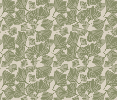 Tulip Seeds Mosstone fabric by leeandallandesign on Spoonflower - custom fabric