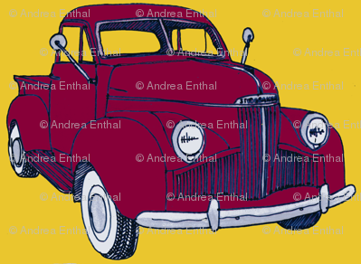 1940's Studebaker pick up truck  red on yellow