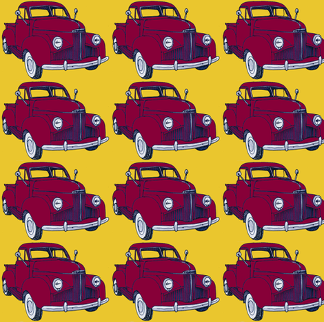 1940's Studebaker pick up truck  red on yellow fabric by edsel2084 on Spoonflower - custom fabric
