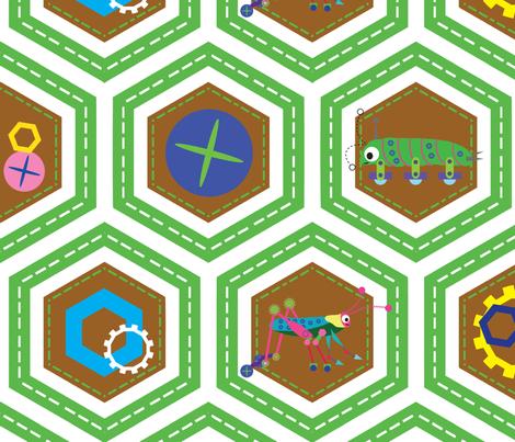 Bug-bots - continuous fabric by owlandchickadee on Spoonflower - custom fabric