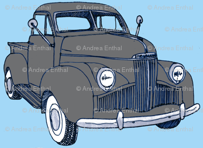 1940's Studebaker pick up truck  gray on light blue