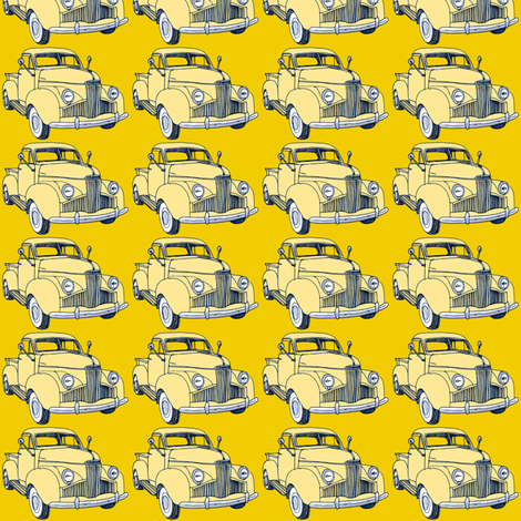 1940's Studebaker truck  cream on yellow M Series fabric by edsel2084 on Spoonflower - custom fabric