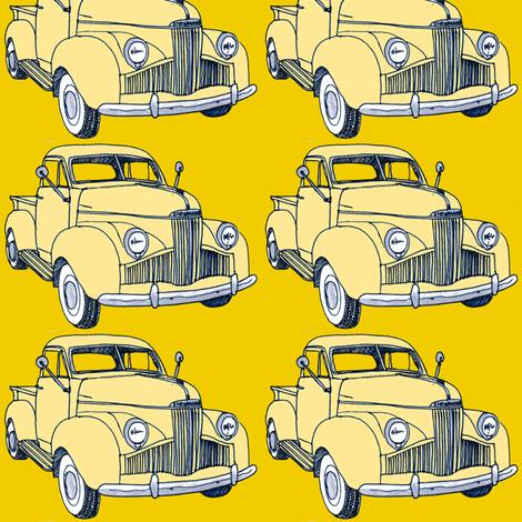 1940's Studebaker truck  cream on yellow M Series fabric by edsel2084 on Spoonflower - custom fabric