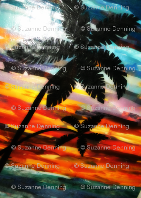 collage of palms at senset