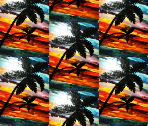 collage of palms at senset fabric by smint on Spoonflower - custom fabric
