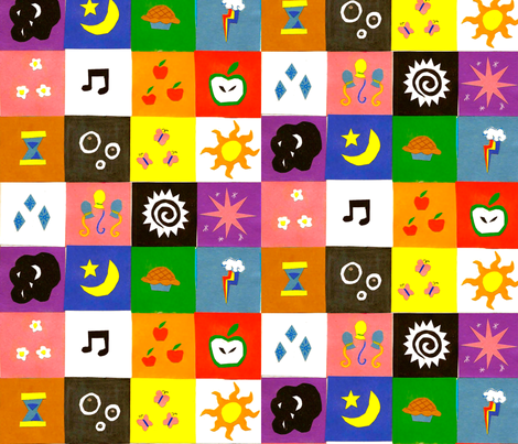 Cutie Mark Patches (Cheater Quilt)  fabric by nualapegasus on Spoonflower - custom fabric