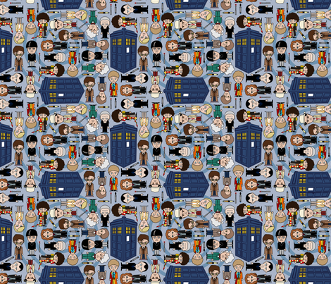 doctor who ville - SMALL/Blue fabric by thirdhalfstudios on Spoonflower - custom fabric
