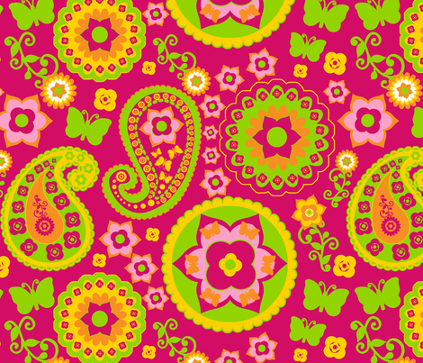 Pink, Yellow & Green Paisley fabric by stitchwerxdesigns on Spoonflower - custom fabric