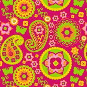 Pink, Yellow &amp; Green Paisley