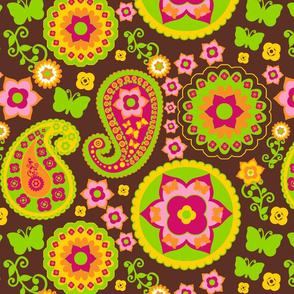 Pink, Green, Yellow Paisley on Brown