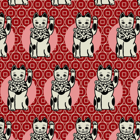 Lucky_cats-Red fabric by hoodiecrescent&stars on Spoonflower - custom fabric