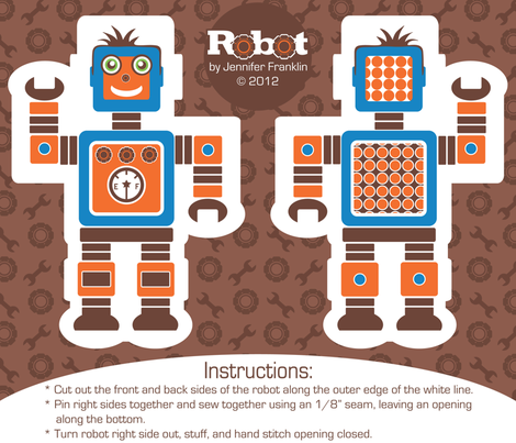 Boy Robot Doll Kit fabric by jenniferfranklin on Spoonflower - custom fabric