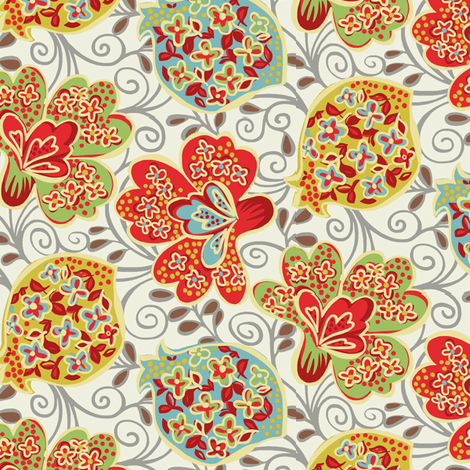 Funky Floral / Cream fabric by hoodiecrescent&stars on Spoonflower - custom fabric