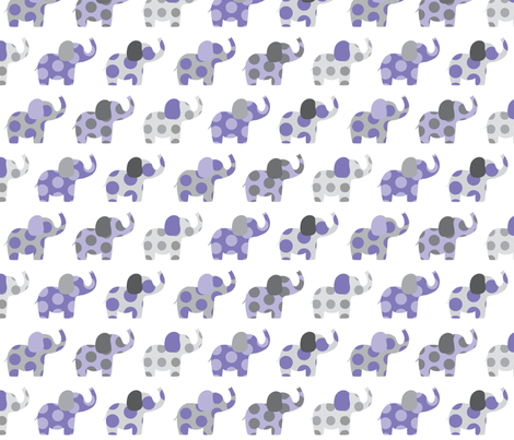 Ellie's Elephant Friends in Purple and Gray fabric by littlebdesigns on Spoonflower - custom fabric