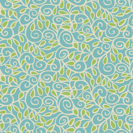 Step 'n Seed / Aqua fabric by hoodiecrescent&stars on Spoonflower - custom fabric