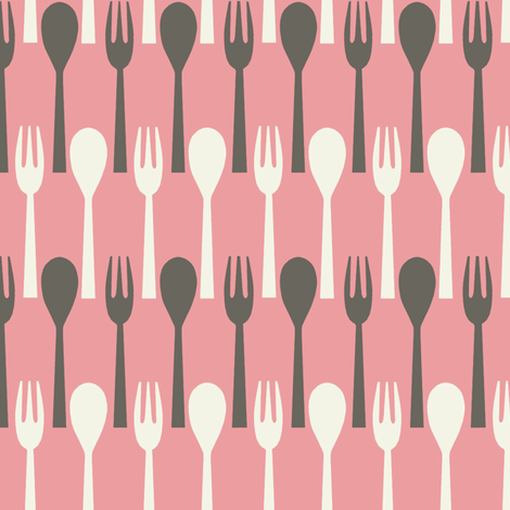 Spoon & Fork / Pink fabric by hoodiecrescent&stars on Spoonflower - custom fabric