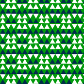 Blue & White Triangles on Green
