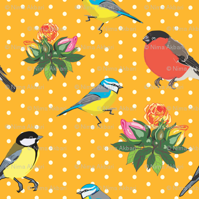 Birds and Roses (Orange yellow)