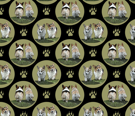 Pembrokes coming and going fabric by rusticcorgi on Spoonflower - custom fabric